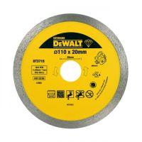 Диск алмазный DeWALT, 110х1.6х20.0мм, высота сегментов 8мм, сплошной, для мокрой и сухой резки твердых металлов от керамической плитки и до гранита и мрамора для плиткорезов DWC410.